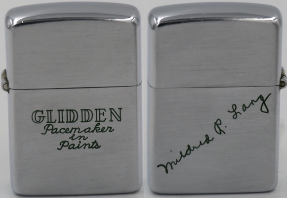 "1946-49 Zippo for the Glidden Company ""Pacemaker in Paints"".  The reverse is engraved with the signature of Mildred R Long. The Glidden Company is a division of PPG Industries, which is one of the largest paint manufacturers in North America"