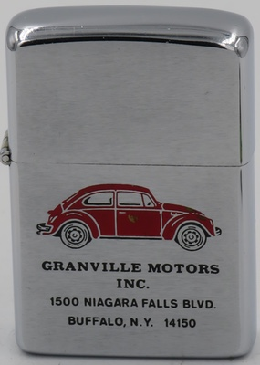 1968 Zippo with a graphic of a red Volkswagen bug, advertising Granville Motors Inc that was an authorized Volkswagen dealer in Buffalo New York