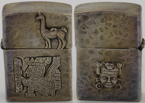 925 Sterling hammered lighter from Peru with Viracocha and llama on one side, and an Inca god on the reverse