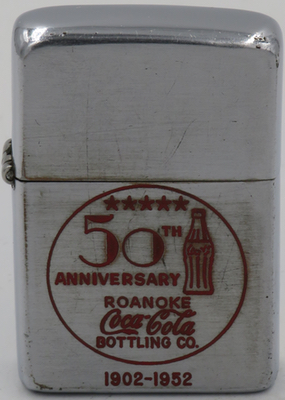 1952 Zippo celebrating Coca-Cola's Roanoke bottling plant's 50th Anniversary