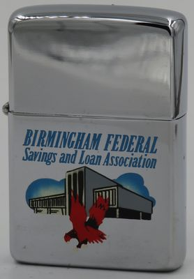 1963 Zippo with a graphic of the building housing the Birmingham Federal Savings & Loan Association which went out of business in 1992