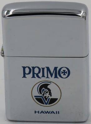 1979 Zippo advertising Primo beer from Hawaii was brewed in Hawaii until 1998 when it went out of business. The beer was introduced by Honolulu Brewing & Malting Co. Ltd. in 1898
