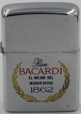 "1968 Zippo reads ""Ron Bacardi - el mejor del mundo desde 1862"". founded by Don Facundo Bacardi Masso in Cuba, Bacardi based in Bermuda today"