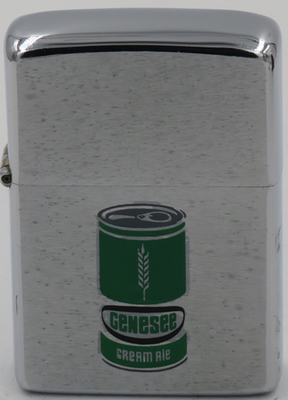 "1974 Zippo with a can of Genesee Cream Ale, also known and ""Genny Cream"" was introduced in 1960"