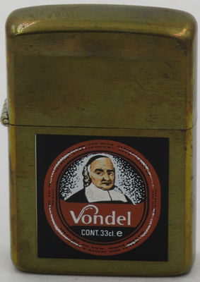 1987 prototype brass Zippo for Vondel, a Belgian brown ale