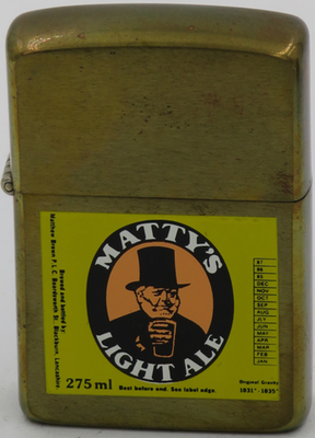 1987 prototype brass Zippo with advertising for Matty's Light Ale, Blackburn, Lancashire.