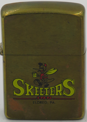 1988 prototype brass Zippo advertising Skeeters Inn in Eldred, Pennsylvania.  Eldred has a population  of 868