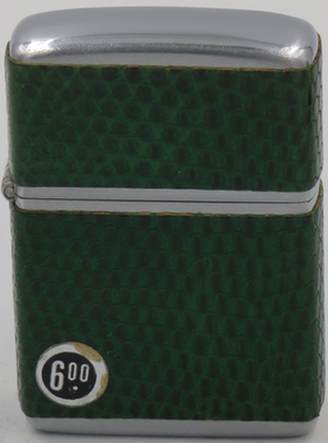 This 1952 Zippo in green reptile has a $6.00 price tag.  A big jump in price in one year!