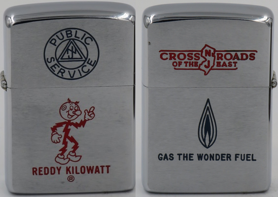 "This 1965 Zippo has both sides of the lid and bottom case engraved. Reddy Kilowatt  and ""Public Service"" on one side, ""Cross Roads of the East"" and Gas the Wonder Fuel"" on the other."