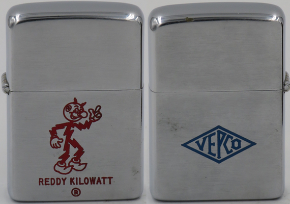 "Two-sided 1955-56 Zippo with Reddy Kilowatt on one side and  ""VEPCO"" (Virginia Electric & Power) on the other"