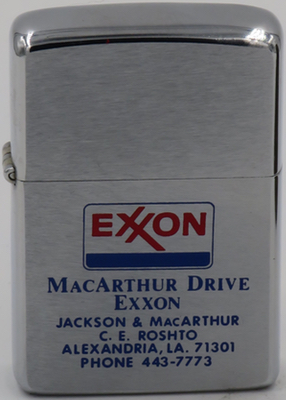 1975 Zippo advertising an Exxon service station in Alexandria LA