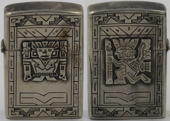 "925 Sterling Silver lighter from Peru marked ""A Bogino"" with images of Viracocha and symbolic relief carvings from the Gateway of the Sun at Tiahuanaco"