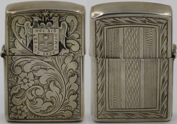 Another 925 Sterling Silver lighter made in Peru with the coat of arms of Lima, the City of Kings on a different Venetian design