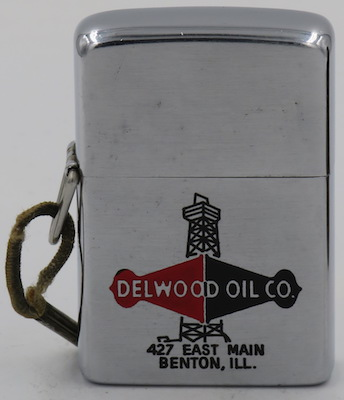 1955 loss-proof Zippo with the image of an oil rig for Delwood Oil of Benton Illinois