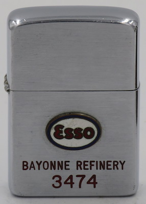 1954 Zippo with an attached ESSO badge for the Bayonne Refinery,  the world's first great petroleum processing plant which opened in 1877