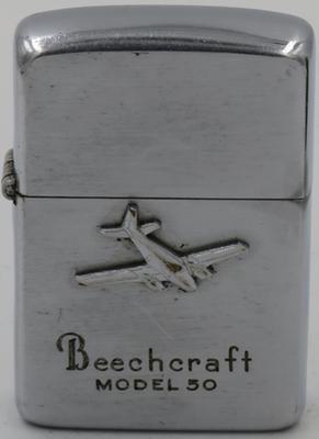 "ThisBeechcraft Model 50 ""Twin Bonanza in reliefon a 1952-53 Zippo"
