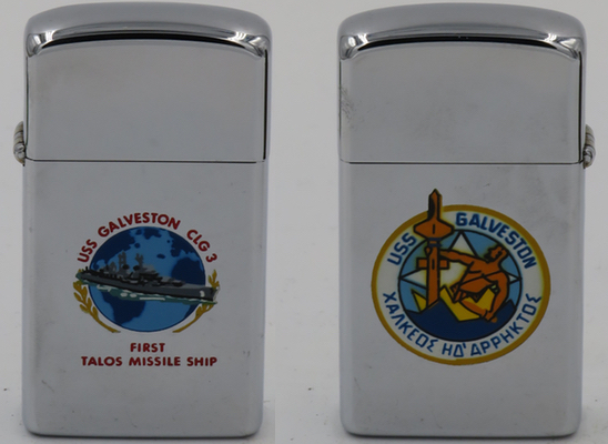 1965 slim T&C Zippo for USS Galveston (CLG 3) which was a guided missile cruiser in service from 1958 to 1970