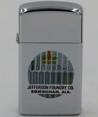 1968 slim T&C process Zippo for  Jefferson Foundry Co, Birmingham Alabama