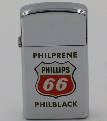 1962 slim town & country Zippo advertising Phillips 66.  Philprene and Philblack are used in the production of synthetic rubber