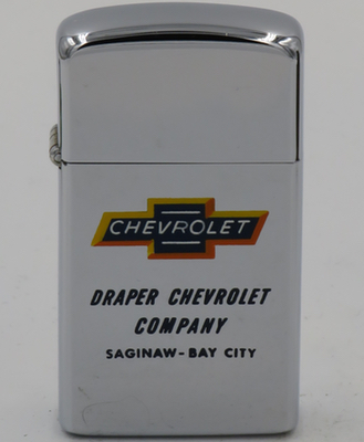 1963 slim Zippo with a Town & Country hand-paintedChevrolet logo advertises Draper Chevrolet Company in Saginaw - Bay City, Michigan