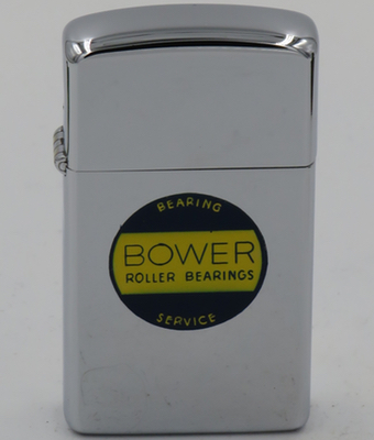 1960 slim T&C Zippo for Bower Roller Bearings.  Started in 1904, Bower is one of the largest manufacturers of precision roller bearings in North America