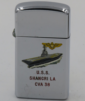 Aircraft carrier USS Shangri La on a 1964 slim T&C Zippo