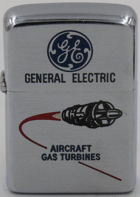 1956 Zippo for GE or General Electric with a graphic of an aircraft gas turbine enter