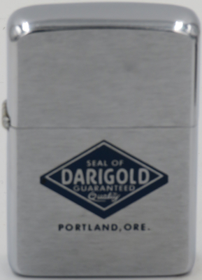 1957 Zippo with the seal of Darigold, a dairy cooperative founded in 1918. Headquartered inSeattle Washington.  It is owned by the over 500 dairy farm members located in Washington, Oregon, Idaho, Northern California and Montana