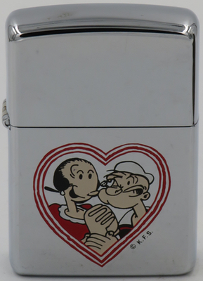 1994 Zippo with 1994 Zippo with Popeye & Olive Oyl framed by a heart. Popeye the Sailor cartoons were a fixture in movie theaters and television well into the 1960s.  He is credited with saving the spinach industry in the 1930s