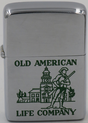1965 Zippo with the patriotic images of Independence Hall and an armed patriot advertising Old American Life Company.JPG