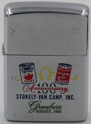 1961 Zippo for Stokely Van Camp 100 Anniversary. Van Camp's is a brand of canned beans currently owned by ConAgra Foods, Inc. Their products typically consist of beans stewed in a flavored sauce