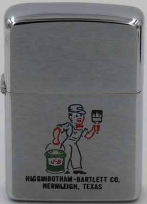 1959 Zippo with the figure of a painter for  Higginbotham-Bartlett in Hermleigh, Texas