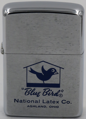1969 Zippo advertising Blue Bird National Latex Company, a major balloon manufacturing company based in Ashland, Ohio