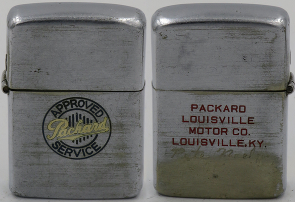 1948 Zippo advertising Approved Packard Service by Packard Louisville Motor Co. in Louisville, Kentucky. The Packard Company was started in 1898 by James Wood Packard and became a leading luxury car manufacturer by the 1930's.  By the 1950's, the competition by the Big Three had become too fierce and Packard was merged into the Studebaker Company.