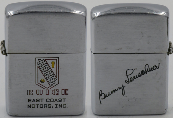 This 1946-47 Zippo advertises Buick East Coast Motors, Inc. The old Buick logo pre-dates the current tri-shield logo. Carries the signature of Bunny Leushener (?) on the back