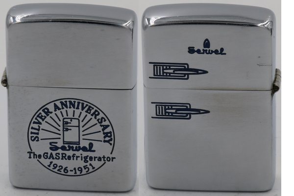 "1949-51 Zippo celebrating the Silver Anniversary of the Servel Gas Refrigerator 1926-1951. The Servel Corporation w as incorporated in Indiana as a sales agency for the ""ice-making machine."" In 1925 Hercules was sold and the name changed to Servel Manufacturing. The new ""refrigerator"" made its debut at the American Gas Association convention in Atlantic City in October 1926."