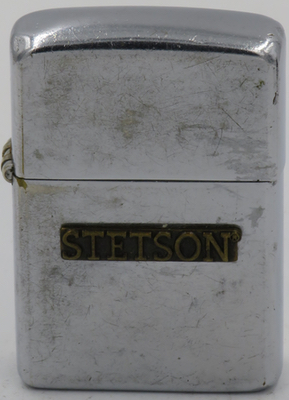 1954-55 Zippo advertises Stetson, the maker of the Stetson cowboy hats. The John B. Stetson Company was founded by John B. Stetson in 1865 and ceased manufacturing in 1970