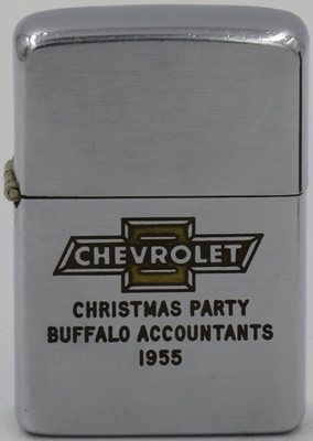 1955 Zippo with the Chevrolet logo celebrating the Buffalo Accountants Christmas Party.