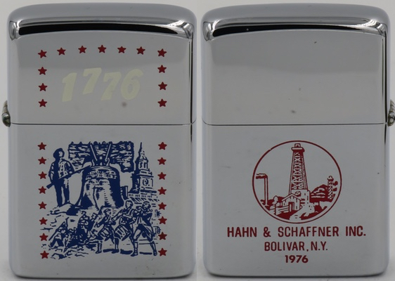 1976 Zippo with a Bicentennial celebration theme on the front for Hahn & Schaffner Oil Pipe Supply Company, which started operations in Bolivar New York in 1921.