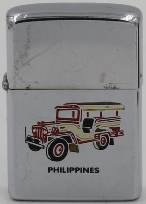 1985 Zippo with a graphic of a Jeep which is one of the most popular forms of transportation in the Phillipines
