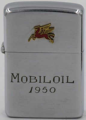 "1950 Zippo with attached Pegasus badge and non-factory engraved ""Mobil Oil 1950"""
