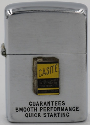 "1947 Zippo with attached badge advertising Casite ""guarantees smooth performance quick starting"