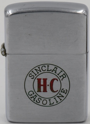 "Sinclair 1946-47 line-drawn Zippo with the Sinclair Gasoline logo.  The letters in red ""HC stand for ""Houston Concentrate"", Sinclair's popular super fuel introduced in 1926"