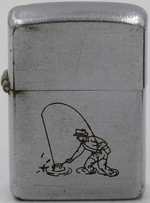 1946-49 line drawn Zippo Fisherman