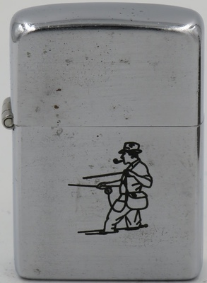 1946-49 Zippo line drawn fisherman with pipe