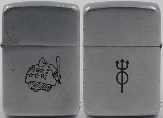 "This 1941 Zippo, while not from the Sports Series, has a line drawing of ""Kelsey The Clown"" as a Keystone cop with a halo and trident of Saints & Sinners Circus"