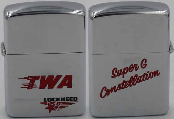 1953 two-sided Zippo advertising TWA's Lockheed Super G Constellation