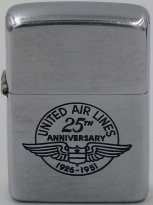 1951 Zippo commemorating United Airlines 25th Anniversary 1926-1951