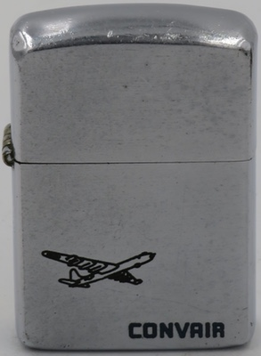 "1954 Zippo for Convair with a line-drawn graphic of the B-36 ""Peacemaker"",  a strategic bomber operated solely by the United States Air Force from 1949 to 1959"