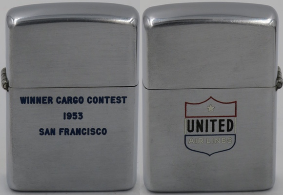 United Airlines, Winner Cargo Contest 1953 San Francisco on 1953 Zippo